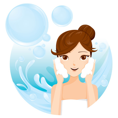 Young Woman Washing Face With Foam , Facial, Beauty, Cosmetic, Makeup, Health, Lifestyle