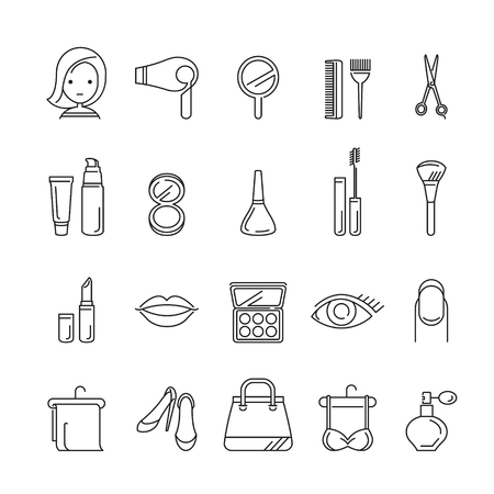 beauty icon: Ladies Fashion, Cosmetics And  Beauty Linear Icons Set, Accessories, Equipment, Hairdressing, Makeup, Shopping