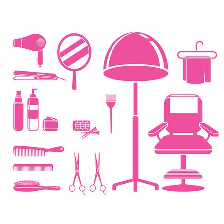 cadeira: Hair Salon Equipamentos Set, Monochrome, cabeleireiro, beleza, loja de cabelo, acessórios, objetos, ícones Ilustração