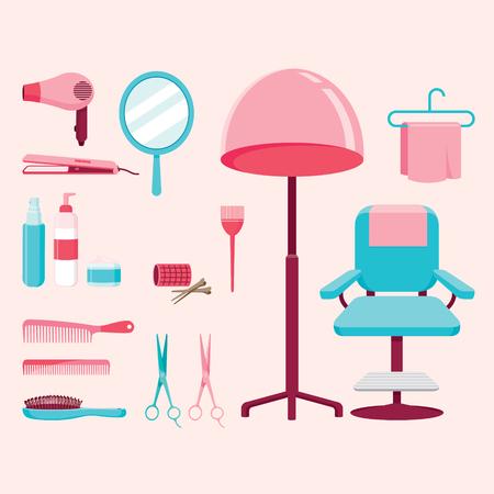 secador de pelo: Hair Salon Equipamientos Conjunto, peluquería, belleza, tienda de pelo, accesorios, objetos, iconos Vectores