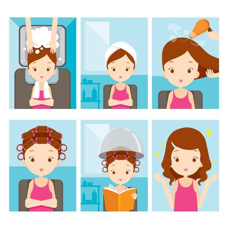 Muchacha que se relaja en salón de pelo Set, peluquería, belleza, peinado, estilo de vida, concepto Ilustración de vector
