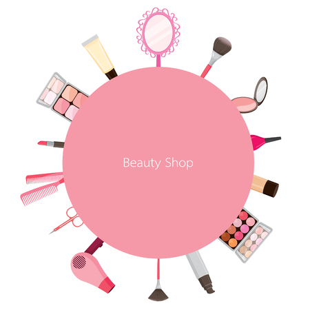 cosmetics background: Cosmetic And Hair Salon Equipments Round Frame, Cosmetics, Accessory, Tool, Facial, Objects, Icons