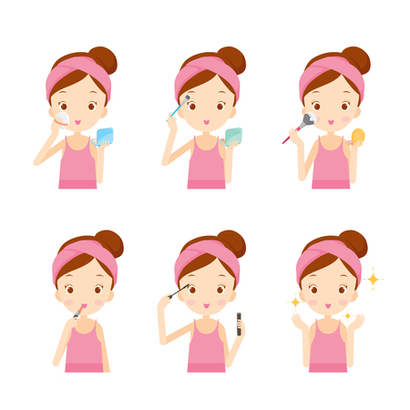 cute illustration: Girl Makes Up With Various Actions Set, Cosmetics, Facial, Beauty, Fashion, Woman Lifestyle, Concept