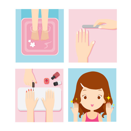 Relaxing Girl In Nail Salon Set, Beauty Shop, Manicure, Pedicure, Spa, Lifestyle, Concept Vectores