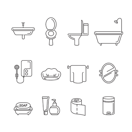 household objects: Bathroom equipments linear icons set, healthy, hygiene, cleanness, product, home decoration, household, objects