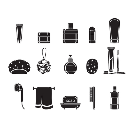 household objects: Bathroom equipments set, monochrome, healthy, hygiene, cleanness, product, home decoration, household, objects Illustration