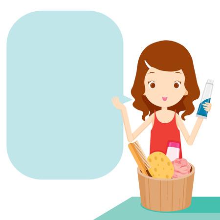 stuffs: Girl showing product with speech bubble, speech, beauty, bathroom stuffs, objects