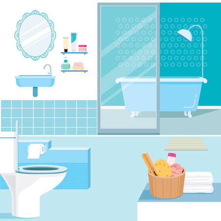 household objects: Bathroom interior and furniture inside, home decoration, household, objects Illustration
