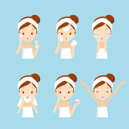 higiene: la limpieza y el cuidado de la muchacha su cara con distintas acciones, facial, tratamiento, belleza, salud, higiene, estilo de vida, conjunto Vectores