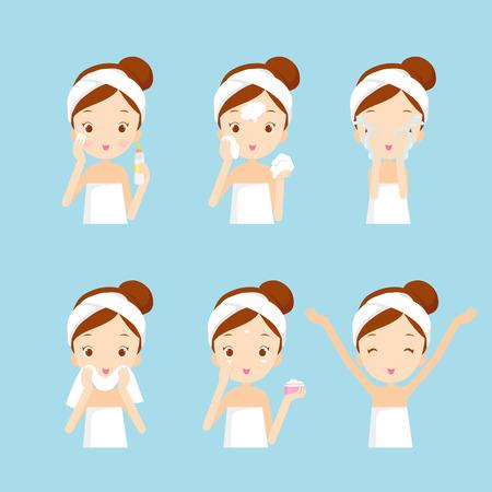 nettoyage de fille et de soins visage avec différentes actions, facial, traitement, beauté, santé, hygiène, style de vie, ensemble Vecteurs