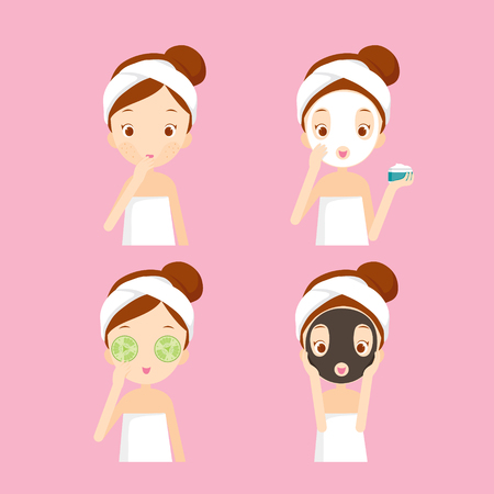 Cuidados de la muchacha y protege la cara con las acciones Vaus establecer, facial, tratamiento, belleza, salud, higiene, estilo de vida, conjunto
