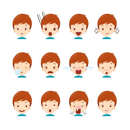 Cute boy emoticons set, emoji, facial, feeling, mood, personality, symbol