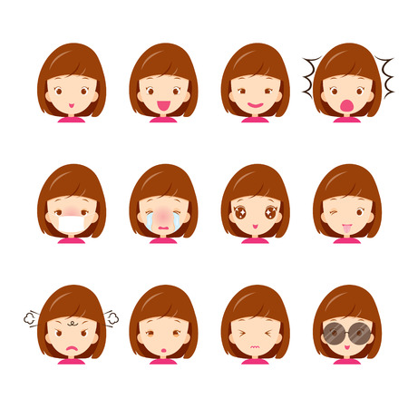 cartoon emotions: Cute girl emoticons set, emoji, facial, feeling, mood, personality, symbol