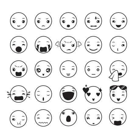 Emoticons set, emoji, facial, feeling, mood, personality, symbol