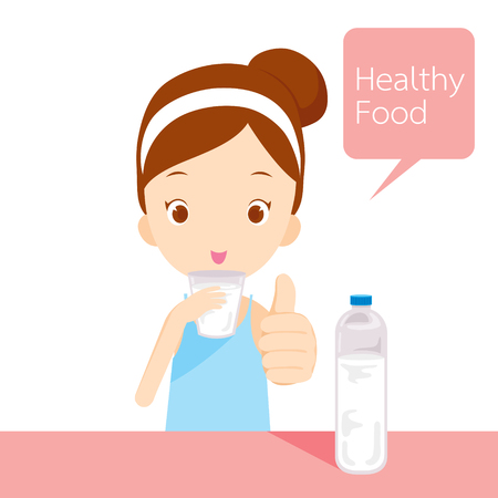 glass bottle: Cute girl drinking water, healthy, organic, nutrition, medicine, mental and physical health Illustration