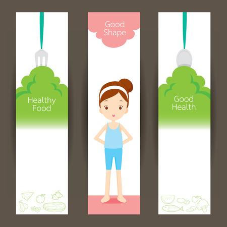 forme et sante: Bonne fille de forme et propre aliments bannière concept, sain, organique, nutrition, médecine, santé mentale et physique Illustration