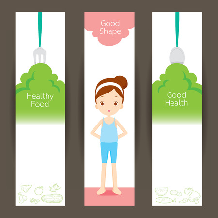 useful: Good shape girl and clean foods banner concept, healthy, organic, nutrition, medicine, mental and physical health