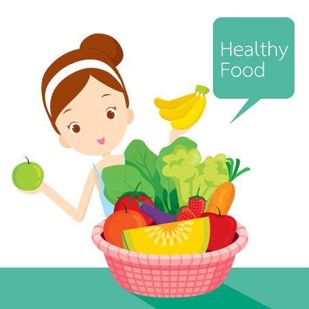 beautiful eating: Cute girl with clean foods basket, healthy, organic, nutrition, medicine, mental and physical health Illustration