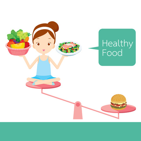 woman eating: Cute girl and foods on balance, healthy, organic, nutrition, medicine, mental and physical health