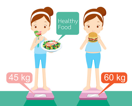 Cute girl on weighing machine, healthy, organic, nutrition, medicine, mental and physical health