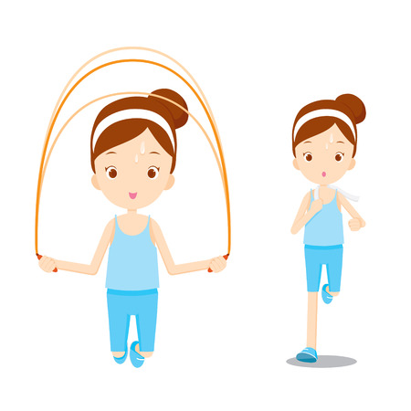 exercising: Cute girl exercising for good wellness, healthy, nutrition, medicine, mental and physical health, sport, daily routine