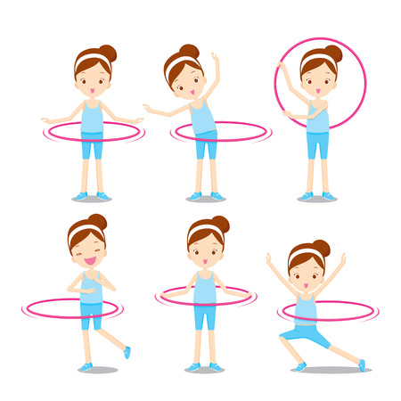 Cute girl with hula hoop twirling actions set, healthy, nutrition, medicine, mental and physical health, sport, daily routine