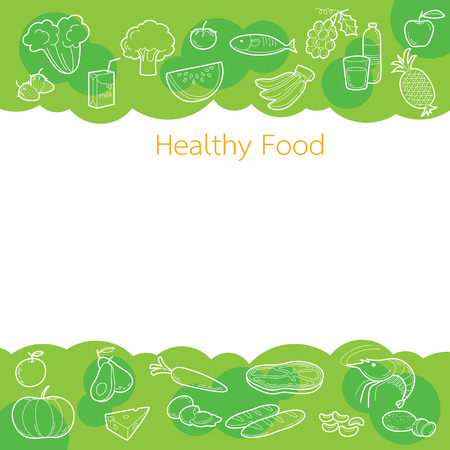 clean food: Clean food outline icons on green background concept, healthy, organic, nutrition, medicine, mental and physical health