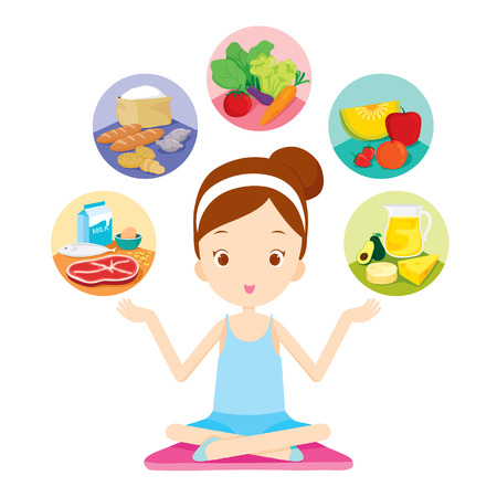 Cute girl siting and showing the 5 food groups, healthy, organic, nutrition, medicine, mental and physical health, category