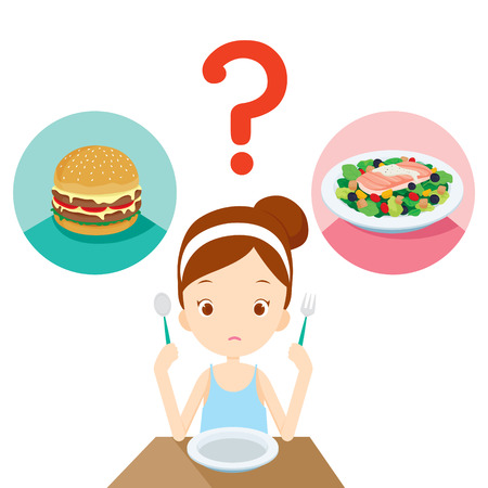 Useful and useless food, question for girl choosing to eat, healthy, organic, nutrition, medicine, mental and physical health, category Иллюстрация