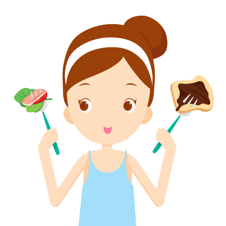Useful and useless food, choices for girl choosing to eat, healthy, organic, nutrition, medicine, mental and physical health, category
