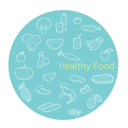 useful: Useful food linear icons set in circle frame, healthy, organic, nutrition, medicine, mental and physical health, category