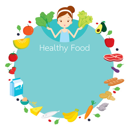 useful: Cute girl and useful food object icons round frame, healthy, organic, nutrition, medicine, mental and physical health, category Illustration