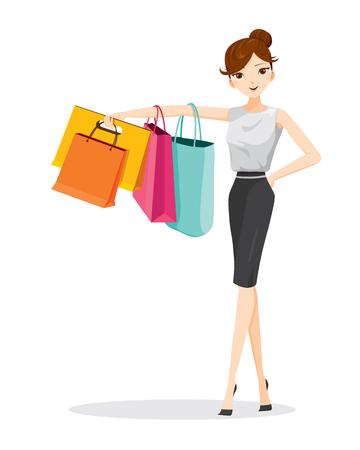 Colgante de la mujer bolsas de la compra en su brazo, mercancías, alimentos, bebidas, belleza, estilo de vida Foto de archivo - 53424256