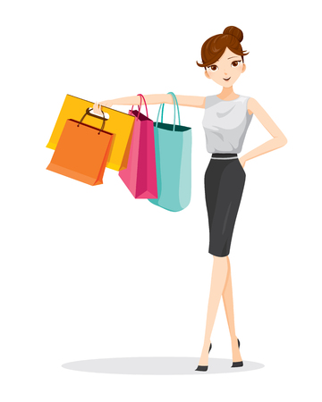 buying: Woman hanging shopping bags on her arm, goods, food, beverage, beauty, lifestyle Illustration