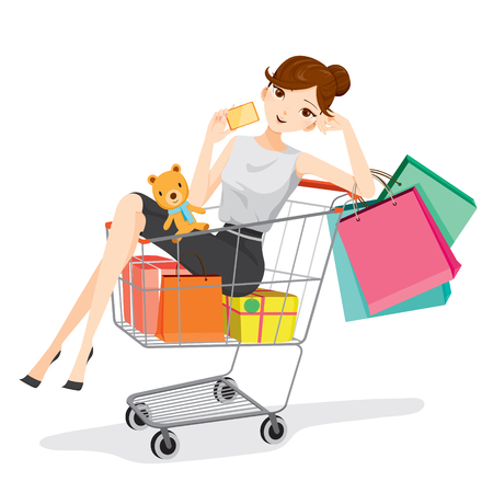 bag cartoon: Woman holding card sitting in shopping cart, goods, food, beverage, beauty, lifestyle Illustration