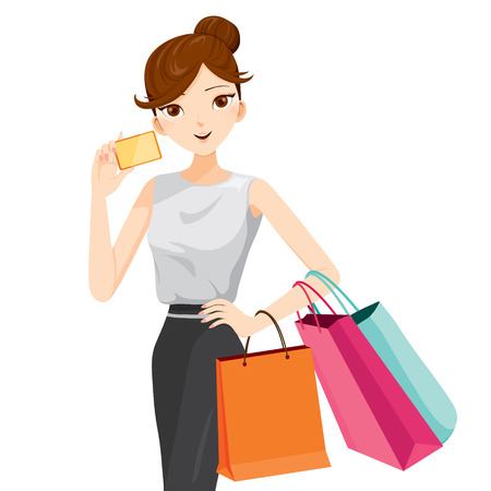 hanging girl: Woman holding card and shopping bags, goods, food, beverage, beauty, lifestyle