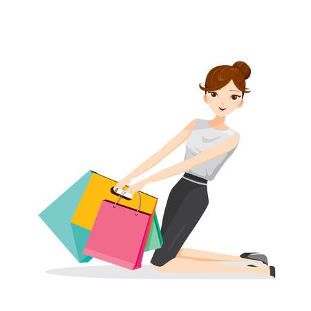 mujer en el supermercado: Mujer con bolsas de compra, sentado en el suelo, mercancías, alimentos, bebidas, belleza, estilo de vida