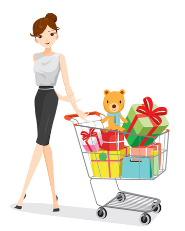 woman shopping cart: Woman and shopping cart full of gifts, goods, food, beverage, beauty, lifestyle