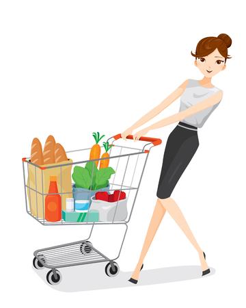 obrero caricatura: Mujer que empuja el carro de compras, bienes, alimentos, bebidas, belleza, estilo de vida