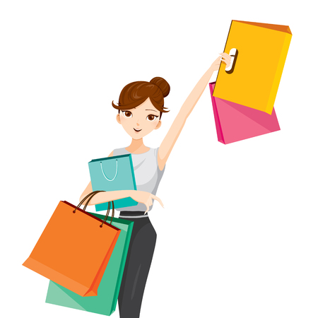 buying: Woman raises her arm, hanging shopping bags, goods, food, beverage, beauty, lifestyle Illustration