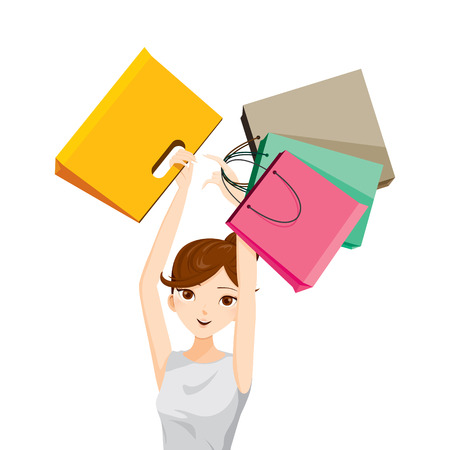 lifestyle shopping: Woman raises her arms, holding shopping bags, goods, food, beverage, beauty, lifestyle