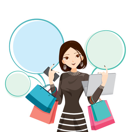 girl at phone: Woman holding notebook, smartphone and shopping bags, goods, food, beverage, beauty, lifestyle Illustration