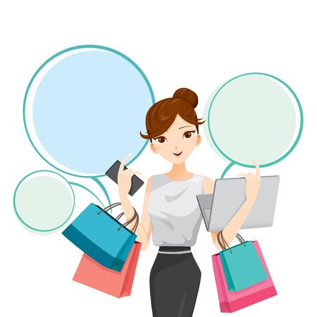 Mujer que sostiene portátil, teléfonos inteligentes y bolsas de compras, bienes, alimentos, bebidas, belleza, estilo de vida Vectores