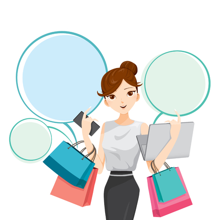 cartoon bubble: Woman holding notebook, smartphone and shopping bags, goods, food, beverage, beauty, lifestyle Illustration