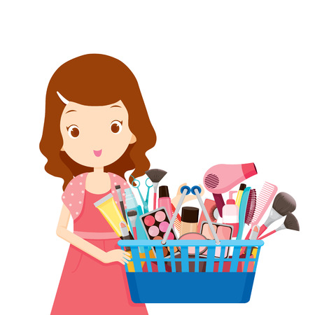 buying: Girl holding shopping baskets full of products, goods, food, beverage, beauty, lifestyle