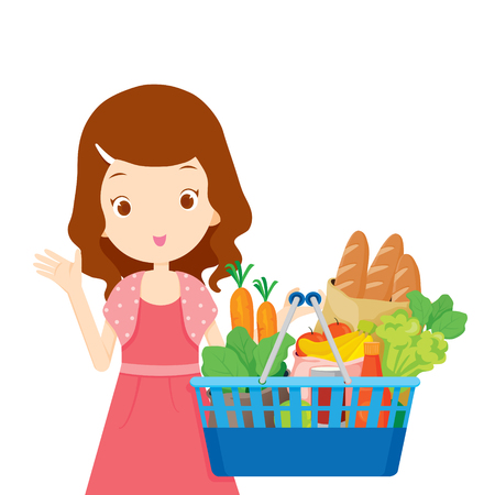 food and beverage: Cute girl holding shopping baskets full of eating, goods, food, beverage, beauty, lifestyle