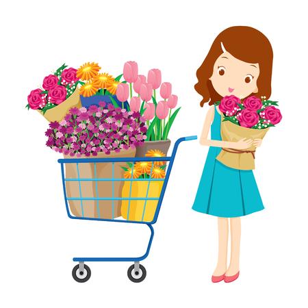 La muchacha y el carrito de la compra lleno de flores, mercancías, alimentos, bebidas, productos de belleza, el estilo de vida Ilustración de vector