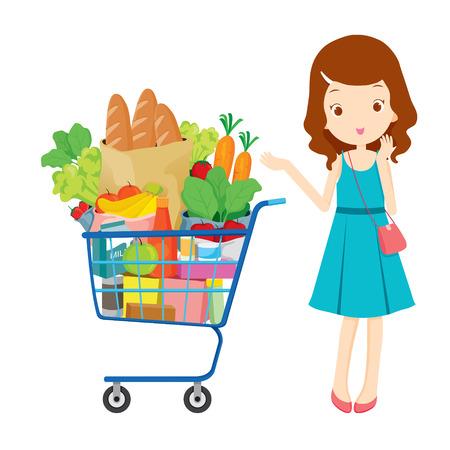 Meisje en winkelwagentje vol met eten, goederen, voedsel, drank, beauty, lifestyle