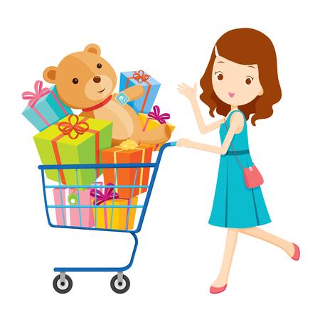 Meisje duwen winkelwagentje vol geschenken, goederen, voedsel, drank, beauty, lifestyle