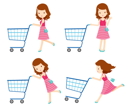 Girl pushing empty shopping carts with various actions set, goods, food, beverage, beauty, lifestyle Vectores